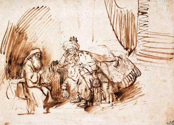 Nathan before King David, Rembrandt